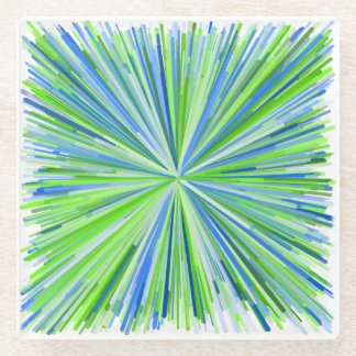 Shades of Green and Blue Line Burst Pattern Glass Coaster