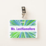 [ Thumbnail: Shades of Green and Blue Line Burst Pattern + Name Badge ]
