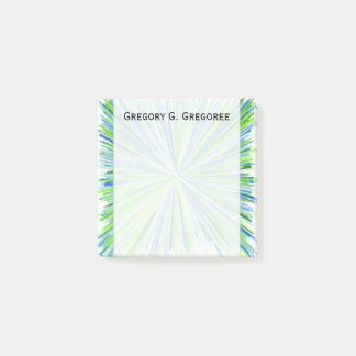 Shades of Green and Blue Line Burst Pattern + Name Post-it Notes