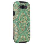 Shades of Green and Gold Distressed Damask Galaxy S3 Cases