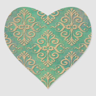 Shades of Green and Gold Distressed Damask Heart Stickers