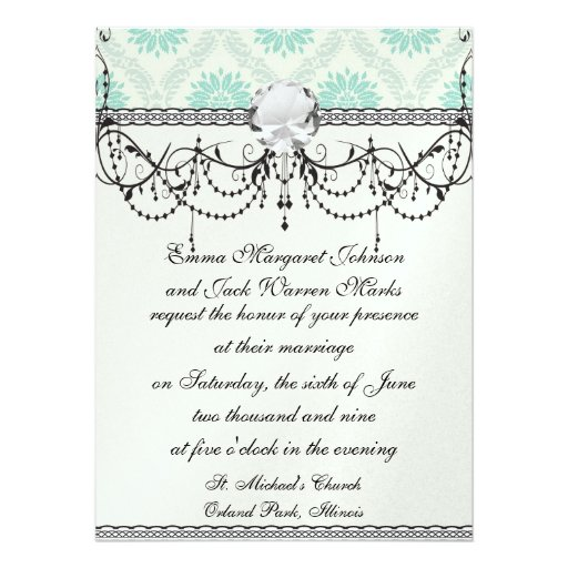 shades of green and ivory damask design invitations