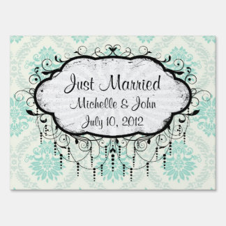 shades of green and ivory damask design yard sign