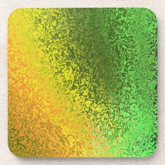Shades of Green and Yellow Abstract Cork Coaster