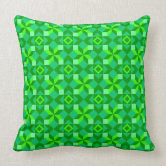 Shades of Green Blocked Patchwork Style Throw Pillow