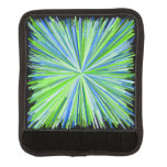 [ Thumbnail: Shades of Green/Blue Line Burst Pattern Luggage Handle Wrap ]