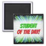 [ Thumbnail: Shades of Green/Blue Line Burst Pattern Magnet ]