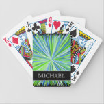 "Shades of Green/Blue Line Burst Pattern   Name Bicycle Playing Cards<br><div class=""desc"">This vibrant playing cards design features a pattern of lines colored different shades of green and blue bursting outward from a central point,  on a black background. It also features a personalized name.</div>"