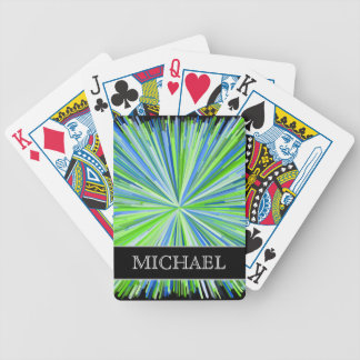 Shades of Green/Blue Line Burst Pattern + Name Bicycle Playing Cards