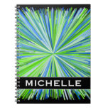 [ Thumbnail: Shades of Green/Blue Line Burst Pattern + Name Notebook ]