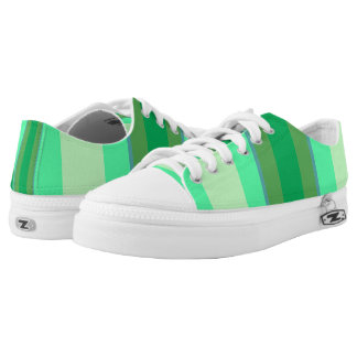 Shades Of Green Bold Stripes Printed Shoes