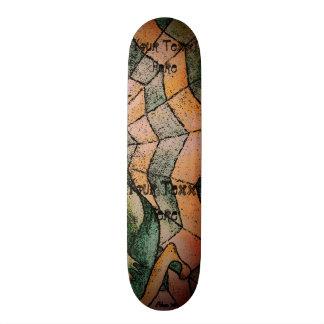shades of green chevron cobweb abstract retro art skateboard