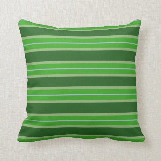 Shades of Green Colorful Rainforest Striped Throw Pillow