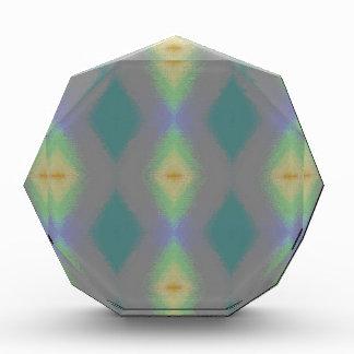Shades of Green Diamond  Shaped Fractal Pattern Acrylic Award