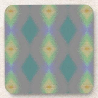 Shades of Green Diamond  Shaped Fractal Pattern Beverage Coaster