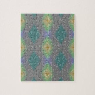 Shades of Green Diamond  Shaped Fractal Pattern Jigsaw Puzzle