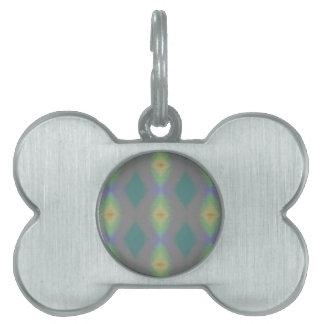 Shades of Green Diamond  Shaped Fractal Pattern Pet Tag