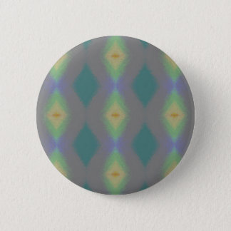 Shades of Green Diamond  Shaped Fractal Pattern Pinback Button