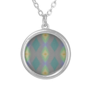 Shades of Green Diamond  Shaped Fractal Pattern Silver Plated Necklace