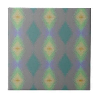 Shades of Green Diamond  Shaped Fractal Pattern Tile