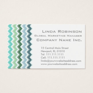 Shades of Green Elegant Chevron Pattern Business Card