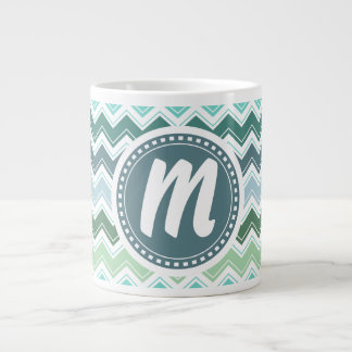 Shades of Green Elegant Chevron Pattern Giant Coffee Mug