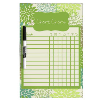 Shades of Green Floral Chore Chart Dry-Erase Board