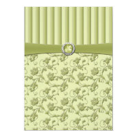 Shades of Green Floral Stripe Wedding Invitation