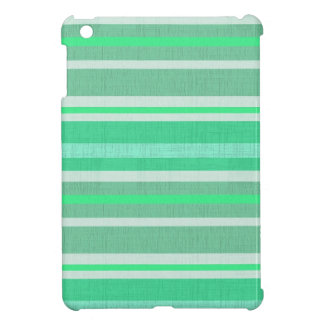 Shades of Green Linen Look Striped Pattern iPad Mini Covers