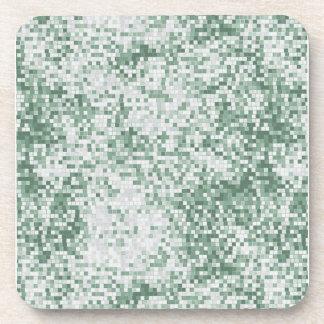 Shades of Green Micro Squares Drink Coaster