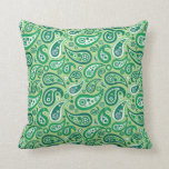 Shades of Green Paisley Pattern Throw Pillow