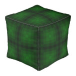 Shades of Green Pixelated Tiled Repeat Pattern Pouf