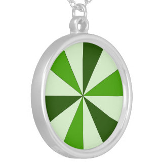 shades of green round pendant necklace