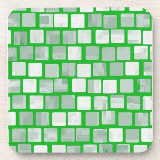 Shades of Green Squares Beverage Coaster