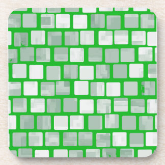Shades of Green Squares Drink Coaster