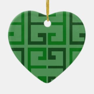Shades of Green Tiles Ceramic Ornament