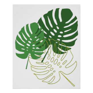 Shades of Green Tropical Foliage Poster