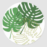 Shades of Green Tropical Foliage Round Stickers