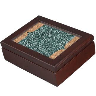Shades of Green Vintage Scrollwork + Burlap Design Keepsake Box