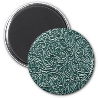 Shades of Green Vintage Tin Tile Look 2 Inch Round Magnet