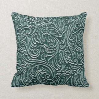 Shades of Green Vintage Tin Tile Look Rustic Home Throw Pillow
