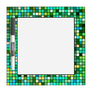 Shades Of Green, Yellow And Blue Squares Pattern Dry Erase Board