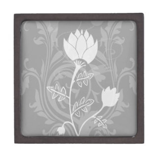 shades of Grey and white floral pattern Premium Gift Box