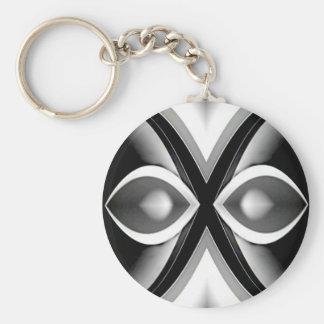 Shades of Grey Basic Round Button Keychain