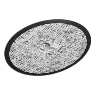 Shades of Grey Cave Horse Plate with Border