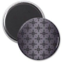 Shades of Grey Damask Pattern Magnet
