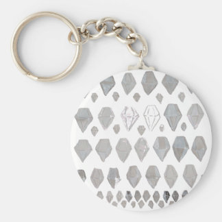 Shades of Grey Diamonds Abstract Art Design Keychain