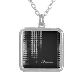 Shades Of Grey Dot Pattern Square Pendant Necklace