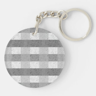 Shades of Grey Plaid Double-Sided Round Acrylic Keychain