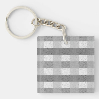 Shades of Grey Plaid Double-Sided Square Acrylic Keychain